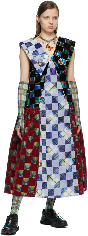 Thumbnail for your product : Chopova Lowena Multicolor Check Pointed Collar Dress
