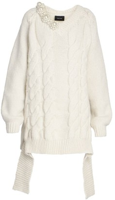Simone Rocha Embellished Cable-Knit Convertible Sweater
