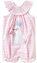 Mud Pie Baby Girls 3-18 Months Striped Easter Bunny-Applique Romper