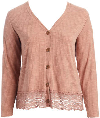 Self Esteem Clothing clothing Women's Cardigans Rose - Rose Dawn Lace-Hem Button-Up Cardigan - Plus