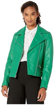 Lauren Ralph Lauren Leather Moto Jacket (Cambridge Green) Women's Coat
