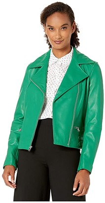 Lauren Ralph Lauren Leather Moto Jacket (Cambridge Green) Women's Coat