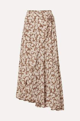 Hannah Artwear - Hazelnut Floral-print Silk Crepe De Chine Wrap Skirt - Brown