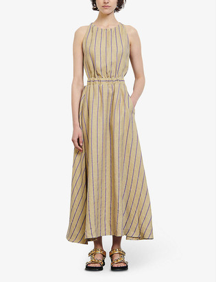 Sandro Taila striped linen-blend midi dress