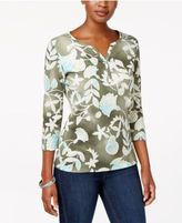 Karen Scott Petite Printed Henley Top, Only at Macy's