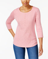Karen Scott Petite Cotton Lace Henley Top, Only at Macy's