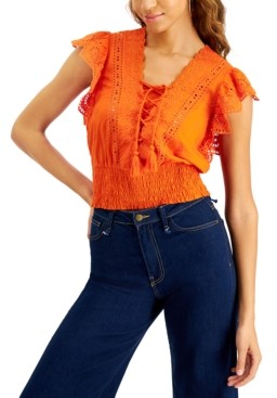 INC International Concepts Inc Petite Eyelet Lace-Up Blouse, Created for Macy's