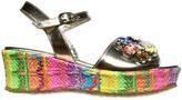Simonetta Woven Wedge & Metallic Leather Sandals