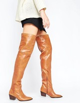 Aldo Deedee Western Leather Over The Knee Boots