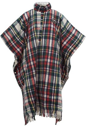 Marine Serre Reversible Hooded Plaid And Lame Poncho - Red Multi
