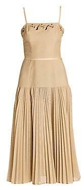Fendi Women's Spaghetti Strap Embellished Perforated Dress