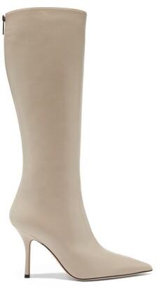 Paris Texas Mama Knee-high Leather Boots - Cream