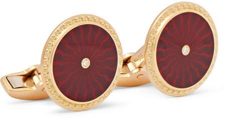 Deakin & Francis Enamelled 18-Karat Gold Diamond Cufflinks
