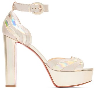 Christian Louboutin Degratissimo 130 Metallic Leather Platform Sandals - Womens - Silver
