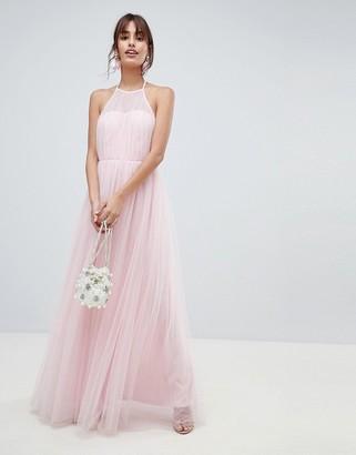 Asos Design DESIGN Premium Halter Tulle Maxi Dress