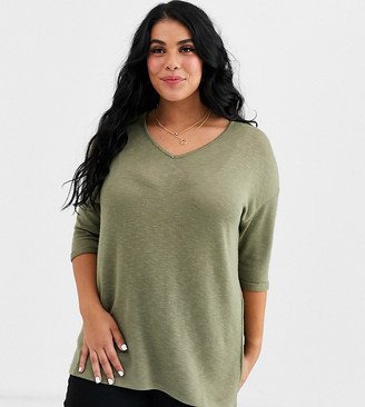 New Look Plus New Look Curve v neck tee in khaki