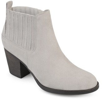 Brinley Co. Women's Faux Suede Block Heel Almond Toe Chelsea Bootie