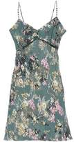 Haute Hippie Ring-Embellished Floral-Print Silk Mini Dress