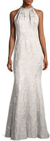 Carmen Marc Valvo Sleeveless Metallic Brocade Gown, Silver