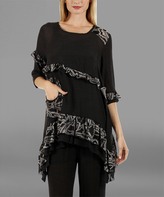 Lily Black & Gray Ruffle-Trim Tunic