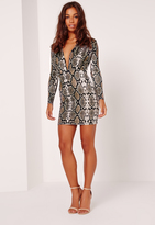 Missguided Petite Exclusive Snake Print Slinky Plunge Mini Dress Multi
