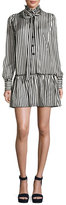 Marc Jacobs Satin Striped Drop-Waist Dress, Black/White