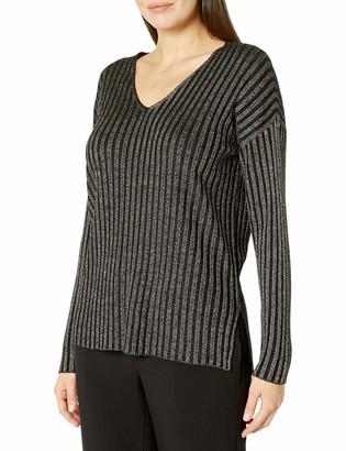 Vince Camuto Women's Rib Stripe Lurex V-Neck Sweater