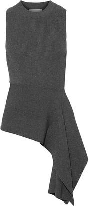 3.1 Phillip Lim Asymmetric Metallic Ribbed-knit Top
