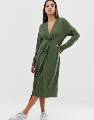 Asos Design DESIGN relaxed long sleeve midi dress with knot front-Green