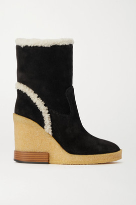 Tod's Shearling-trimmed Suede Wedge Ankle Boots - Black