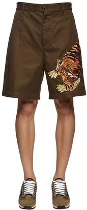 DSQUARED2 Tiger Embroidery Cotton Twill Shorts