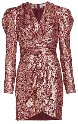 Jonathan Simkhai Metallic Silk Jacquard Puff-Sleeve Sheath Dress