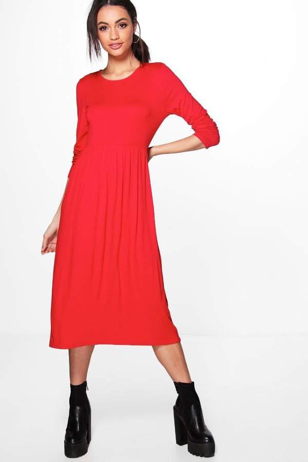 boohoo Long Sleeve Midi Dress