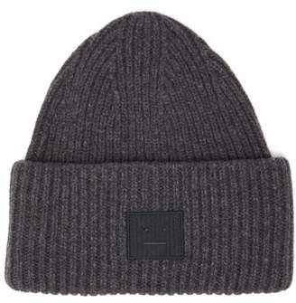 Acne Studios Pansy Ribbed-knit Wool Beanie Hat - Womens - Grey