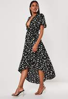 Missguided Black Floral Dip Hem Midi Dress