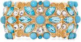 MONET JEWELRY Monet Gold-Tone Blue Stone and Crystal Stretch Bracelet