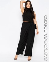 Asos Soft Wide Leg Pant With Wrap Front