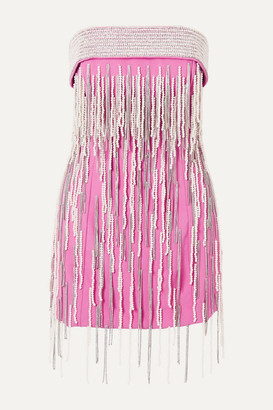 ATTICO Strapless Crystal And Faux Pearl-embellished Wool Mini Dress - Pink