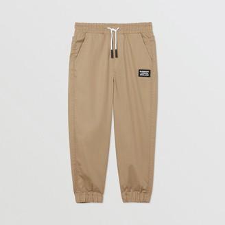 Burberry Childrens Logo Applique Cotton Twill Trackpants