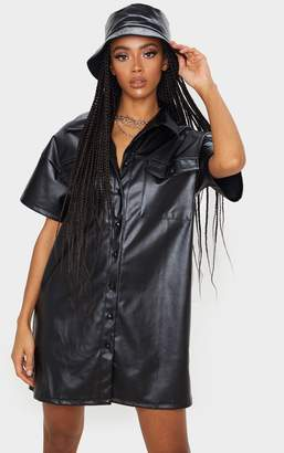 PrettyLittleThing Black Faux Leather Short Sleeve Shirt Dress
