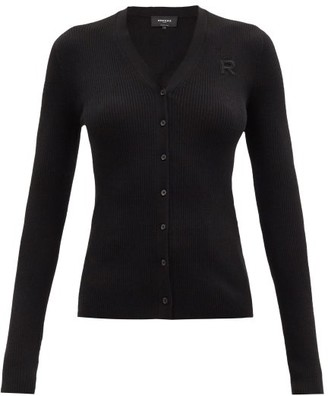 Rochas V-neck Logo-applique Ribbed Wool Cardigan - Black