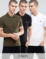 Asos 3 Pack Muscle Polo Shirt With Logo