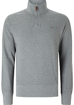 Gant Honeycomb Zip Neck Top, Grey Melange