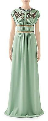 Gucci Women's Technical Jersey Embellished Cap-Sleeve Gown