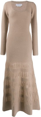 Gabriela Hearst Textured-Knit Flared Maxi Dress