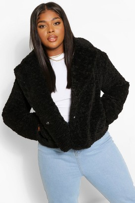 boohoo Plus Teddy Faux Fur Short Length Coat