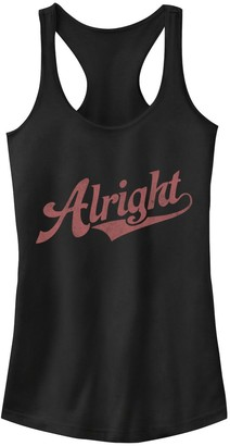 """Juniors' """"Alright"""" Red Text Tank Top"""