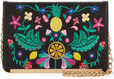 Neiman Marcus Fruitful Floral-Embroidered Crossbody Bag