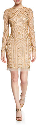 Aidan Mattox Long-Sleeve Geometric Hand-Beaded Mini Cocktail Dress