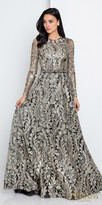 Terani Couture Metallic Long Sleeve Embroidered A-line Evening Dress
